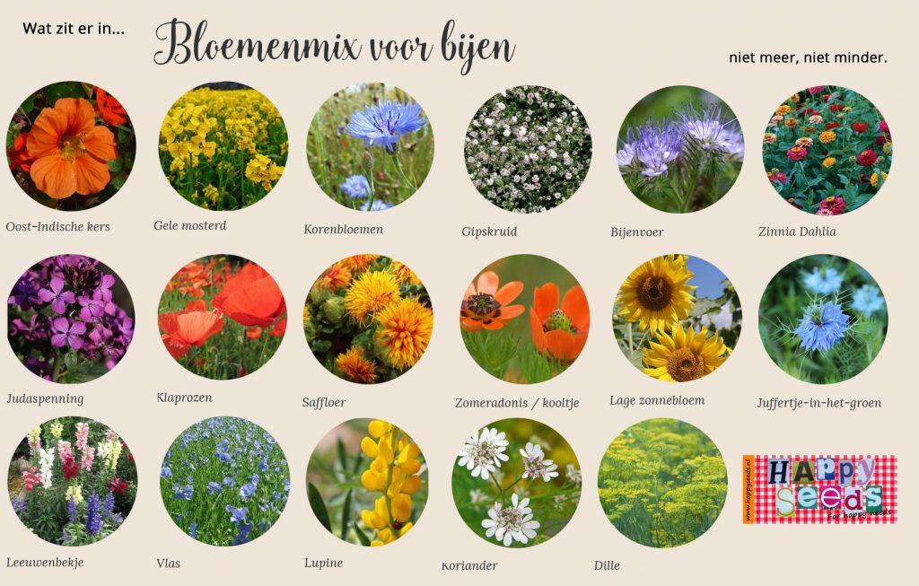 De samenstelling van de bloemenmix voor bijen