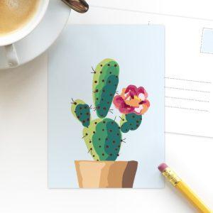 Cactus blauw ansichtkaart