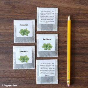 Pergamijn zaadbedankjes met eigen boodschap in kleur (12 stuks)