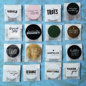 Pergamijn zaadbedankjes met foliesticker (10 stuks)