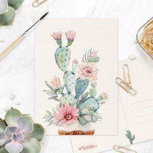 Aquarel cactus ansichtkaart