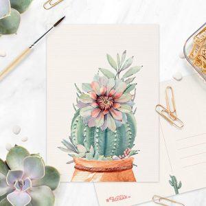 Cactus met bloem ansichtkaart