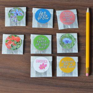 Pergamijn bedankjes met zaden (10 stuks) kleuropdruk